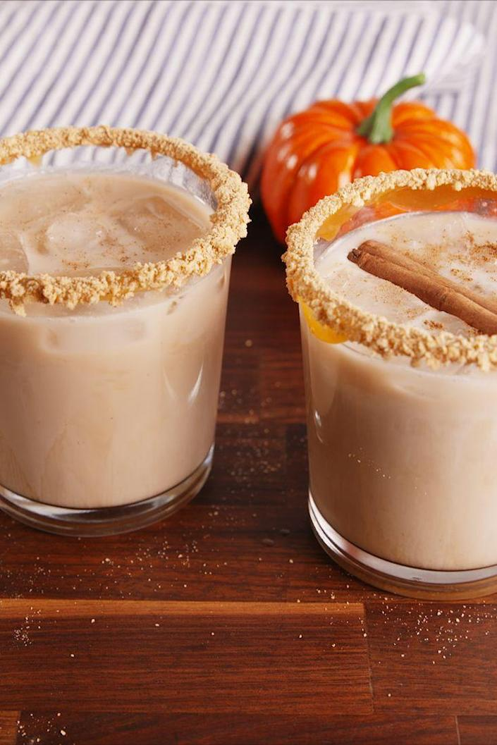 "<p>The next pumpkin spice latte.</p><p>Get the recipe from <a href=""https://www.delish.com/cooking/recipe-ideas/recipes/a56718/pumpkin-spice-white-russians/"" rel=""nofollow noopener"" target=""_blank"" data-ylk=""slk:Delish"" class=""link rapid-noclick-resp"">Delish</a>. </p>"