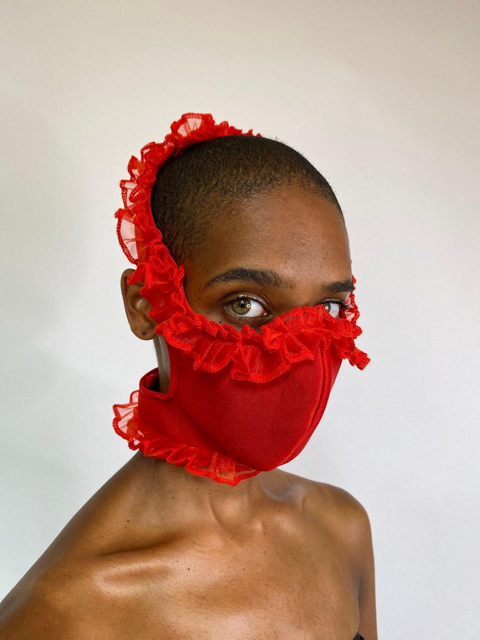 """<p><strong>Tia Adeola</strong></p><p>tiaadeola.com</p><p><strong>$45.00</strong></p><p><a href=""""https://www.tiaadeola.com/shop/red-ruffle-face-mask"""" rel=""""nofollow noopener"""" target=""""_blank"""" data-ylk=""""slk:Shop Now"""" class=""""link rapid-noclick-resp"""">Shop Now</a></p><p>Tia Adeola has a cult following for her ruffled confections, and her always-sold-out masks follow suit. </p>"""