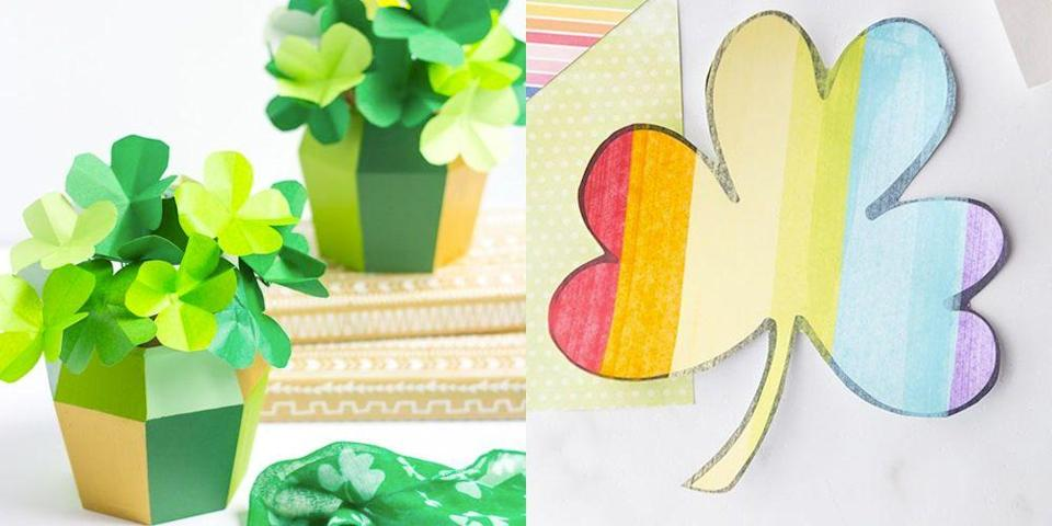 """<p>If you've been looking for an excuse to bust out rainbow glitter and gold paint (as if you <em>really </em>need one...), then you've come to the right place: These St. Patrick's Day crafts will have you and your little leprechauns feeling a little green. With plenty of options for kids, toddlers and adults, you're bound to find an easy craft project on this list that'll get your whole family in the St. Paddy's frame of mind. </p><p>Perhaps you want to DIY something that doubles as <a href=""""https://www.goodhousekeeping.com/holidays/g4968/st-patricks-day-decorations/"""" rel=""""nofollow noopener"""" target=""""_blank"""" data-ylk=""""slk:holiday decor"""" class=""""link rapid-noclick-resp"""">holiday decor</a> (a pretty<a href=""""https://www.goodhousekeeping.com/holidays/g1072/st-patricks-day-wreaths/"""" rel=""""nofollow noopener"""" target=""""_blank"""" data-ylk=""""slk:St. Patrick's Day wreath"""" class=""""link rapid-noclick-resp""""> St. Patrick's Day wreath</a>, for example), or maybe you simply need <a href=""""https://www.goodhousekeeping.com/holidays/g26235518/fun-st-patricks-day-activities/"""" rel=""""nofollow noopener"""" target=""""_blank"""" data-ylk=""""slk:a festive activity"""" class=""""link rapid-noclick-resp"""">a festive activity</a> to keep your toddlers entertained during the day while they wait for the leprechauns to make their entrance. No matter what you have in mind, take a look at these super-fun craft ideas, full of rainbows, shamrocks, leprechauns, gold coins and other traditional Irish symbols, to guarantee a magical March 17. When paired with family-friendly <a href=""""https://www.goodhousekeeping.com/holidays/g5020/st-patricks-day-games/"""" rel=""""nofollow noopener"""" target=""""_blank"""" data-ylk=""""slk:St. Patrick's Day games"""" class=""""link rapid-noclick-resp"""">St. Patrick's Day games</a> and <a href=""""https://www.goodhousekeeping.com/holidays/g4999/st-patricks-day-outfits/"""" rel=""""nofollow noopener"""" target=""""_blank"""" data-ylk=""""slk:stylish green outfits"""" class=""""link rapid-noclick-resp"""">stylish green outfits</a>, they even bring the luc"""