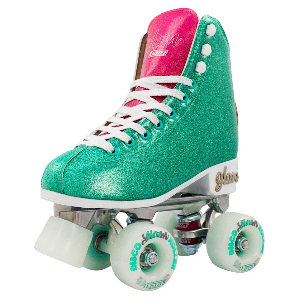 """<h3><a href=""""https://www.walmart.com/browse/sports-outdoors/roller-skates/4125_1224931_7628560_8241867_7343776"""" rel=""""nofollow noopener"""" target=""""_blank"""" data-ylk=""""slk:Walmart"""" class=""""link rapid-noclick-resp"""">Walmart</a></h3><br>In an unexpected twist, Walmart has a lesser-known but, like, <em>totally </em>entertaining <a href=""""https://www.walmart.com/cp/the-80s-shop/4407719"""" rel=""""nofollow noopener"""" target=""""_blank"""" data-ylk=""""slk:'80s Shop"""" class=""""link rapid-noclick-resp"""">'80s Shop</a> where you can shop neon makeup, portable turntables, and — you guessed it — candy-colored skates. <br><br>Sizes here are limited, but you'll have fun browsing the rainbow-hued selection nonetheless. <br><br><strong>Crazy Skates</strong> Disco Glam Roller Skates, $, available at <a href=""""https://go.skimresources.com/?id=30283X879131&url=https%3A%2F%2Fwww.walmart.com%2Fip%2FDISCO-GLAM-ROLLER-SKATES-Glamorous-Glitter-Quad-Skates-Color-TEAL-GLITTER-Size-US-Mens-5-US-Ladies-6-EU-37%2F492645641"""" rel=""""nofollow noopener"""" target=""""_blank"""" data-ylk=""""slk:Walmart"""" class=""""link rapid-noclick-resp"""">Walmart</a>"""