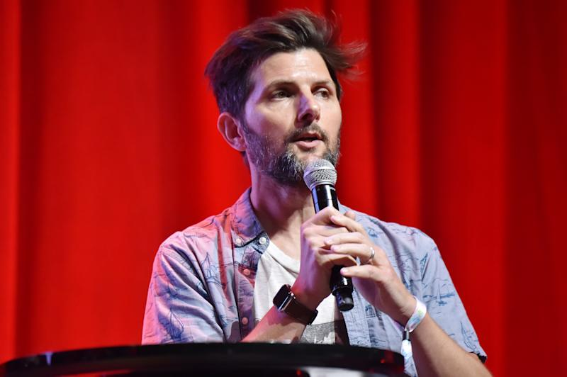 SAN FRANCISCO, CALIFORNIA - JUNE 22: Adam Scott speaks at the 2019 Clusterfest on June 22, 2019 in San Francisco, California. (Photo by Jeff Kravitz/FilmMagic for Clusterfest)