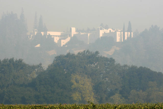 <p>Sterling Vineyards, just south of Calistoga, is seen through a haze of smoke on Thursday morning, the result of various wildfires Napa, Calif., on Oct. 12, 2017. (Photo: Napa Valley Register via ZUMA Wire) </p>