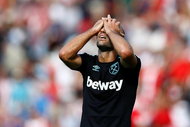 Pablo Zabaleta reacts after giving away a late penalty. (Action Images via Reuters/Peter Cziborra)