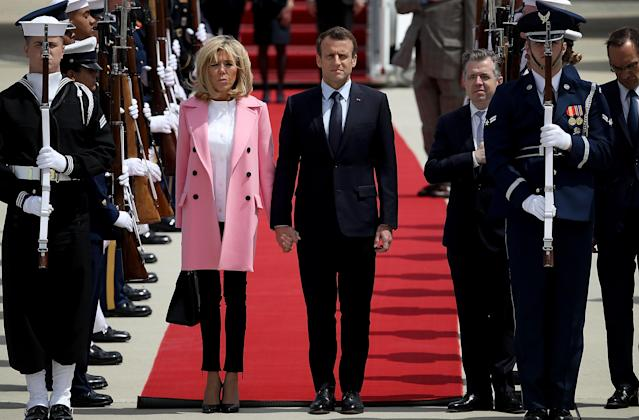 French first lady Brigitte Macron, pictured with her husband, President Emmanuel Macron, arrives in the U.S. (Photo: Getty Images)