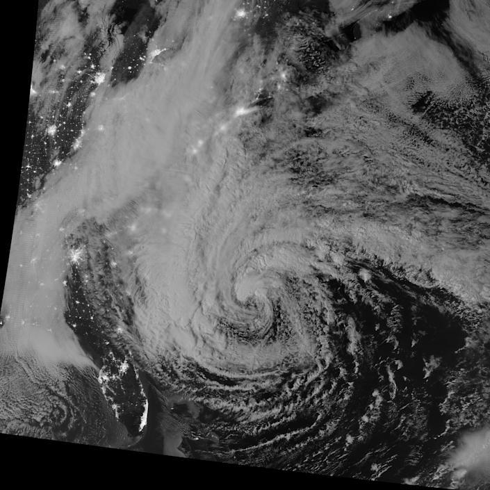 This image of Hurricane Sandy was acquired by the Visible Infrared Imaging Radiometer Suite (VIIRS) on the Suomi NPP satellite at 2:42 a.m. Eastern Daylight Time (06:42 Universal Time) on October 28, 2012. Suomi NPP was launched one year ago today on a mission to extend and enhance long-term records of key environmental data. (NASA)
