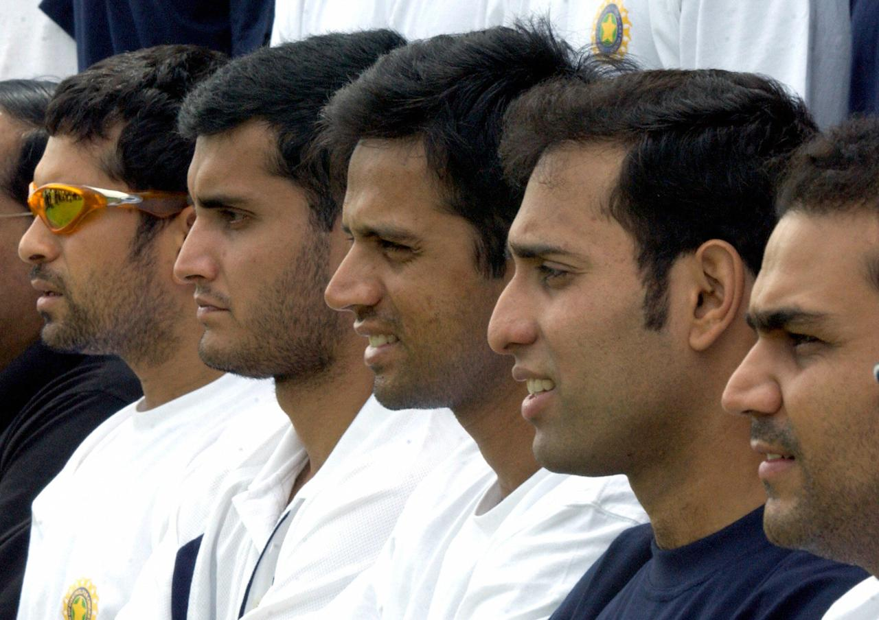 BANGALORE, INDIA:  Indian cricketers (L to R) Sachin Tendulkar, captain Sourav Ganguly, vice-captain Rahul Dravid, W.S Laxman and Virender Sehwag pose photographers during a cricket fitness camp at the National Cricket Academy (NCA) in Bangalore, 18 June 2004 .  A total of 26 cricketers are attending the week-long camp being conducted by the Board of Control for Cricket in India (BCCI) at the NCA in Bangalore ahead of the upcoming asia Cup tournament scheduled for next month in Sri Lanka.  AFP PHOTO/Indranil MUKHERJEE  (Photo credit should read INDRANIL MUKHERJEE/AFP/Getty Images)