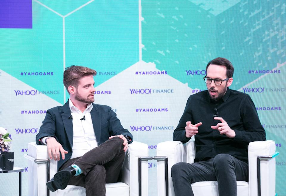 Blockchain CEO Peter Smith (L) and Chain CEO Adam Ludwin (R) at the Yahoo Finance All Markets Summit: Crypto on Feb. 8, 2018. (Gine DePinto/Oath)