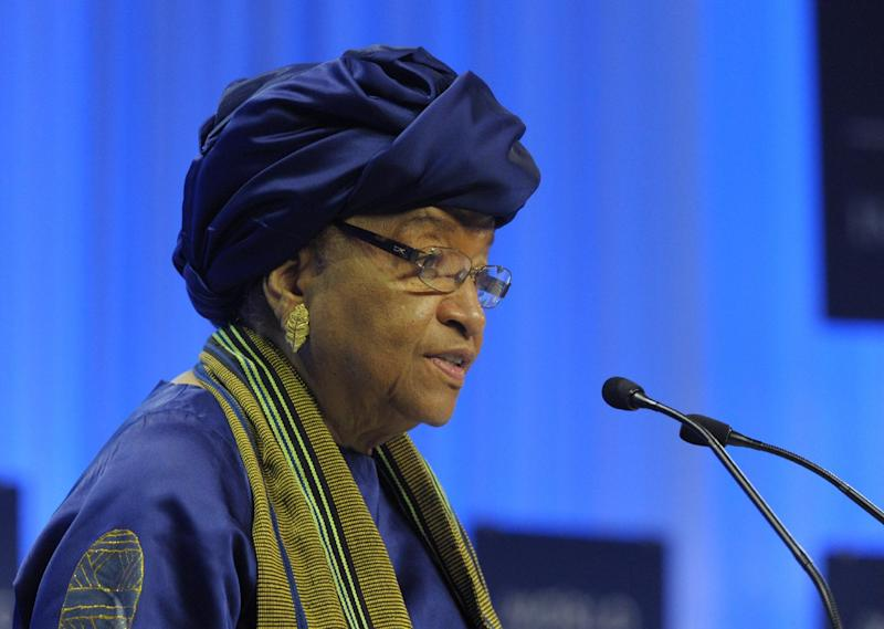 "Liberia's President Ellen Johnson-Sirleaf, seen here on January 22, 2014 in Switzerland, warns of ""economic catastrophe"" as Ebola spreads (AFP Photo/Eric Piermont)"