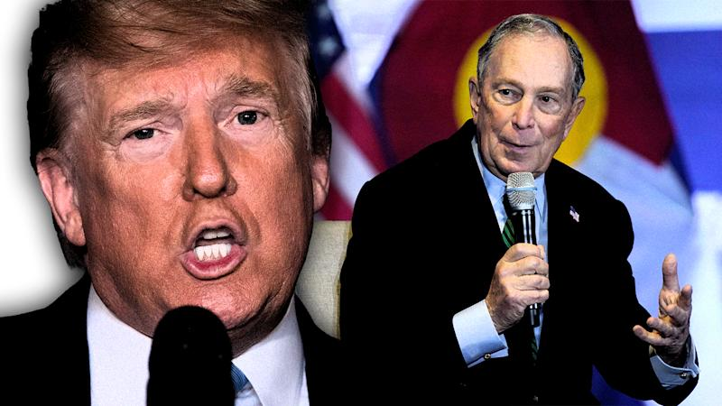 President Donald Trump and Michael Bloomberg. (Photo illustration: Yahoo News; photos: AP, Rick Wilking/Reuters)
