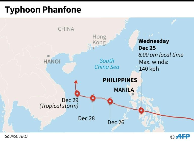 Forecast path of Tropical Storm Phanfone as it approaches the Philippines