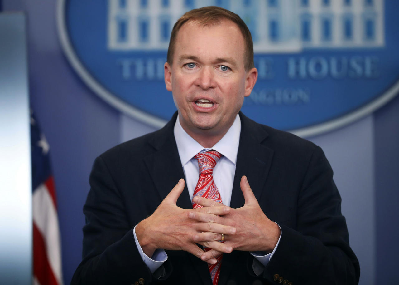 "<p> FILE - In this Thursday, July 20, 2017, file photo, Budget Director Mick Mulvaney gestures as he speaks during the daily press briefing at the White House in Washington. Mulvaney and Treasury Secretary Steven Mnuchin sent mixed signals Sunday, Nov. 19, on the fate of a health care provision in the Senate version of a $1.5 trillion measure to overhaul business and personal income taxes that is expected to be voted on after Thanksgiving. ""I don't think anybody doubts where the White House is on repealing and replacing Obamacare. We absolutely want to do it,"" Mulvaney said. (AP Photo/Pablo Martinez Monsivais, File) </p>"