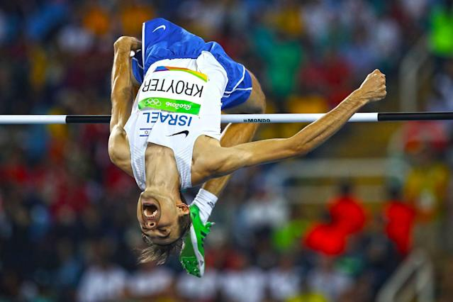 <p>Dmitry Kroyter of Israel competes in the Men's High Jump qualification on Day 9 of the Rio 2016 Olympic Games at the Olympic Stadium on August 14, 2016 in Rio de Janeiro, Brazil. (Photo by Cameron Spencer/Getty Images) </p>