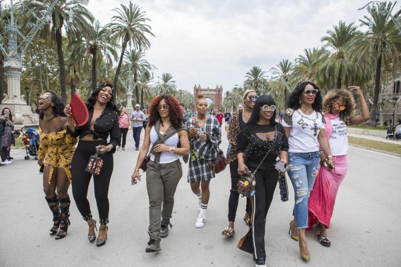 Shamea Morton, Porsha Williams, Shereé Whitfirled, Eva Marcille, NeNe Leakes, Kandi Burruss, Marlo Hampton and Cynthia Bailey during their trip to Barcelona, Spain.