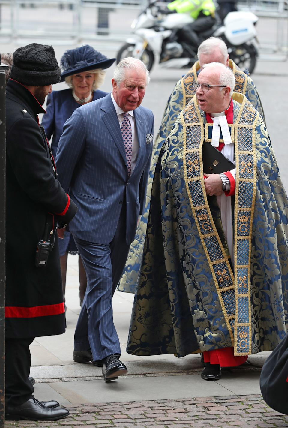 The Prince of Wales and the Duchess of Cornwall arrive at the Commonwealth Service at Westminster Abbey, London on Commonwealth Day. The service is the Duke and Duchess of Sussex's final official engagement before they quit royal life. (Photo by Yui Mok/PA Images via Getty Images)