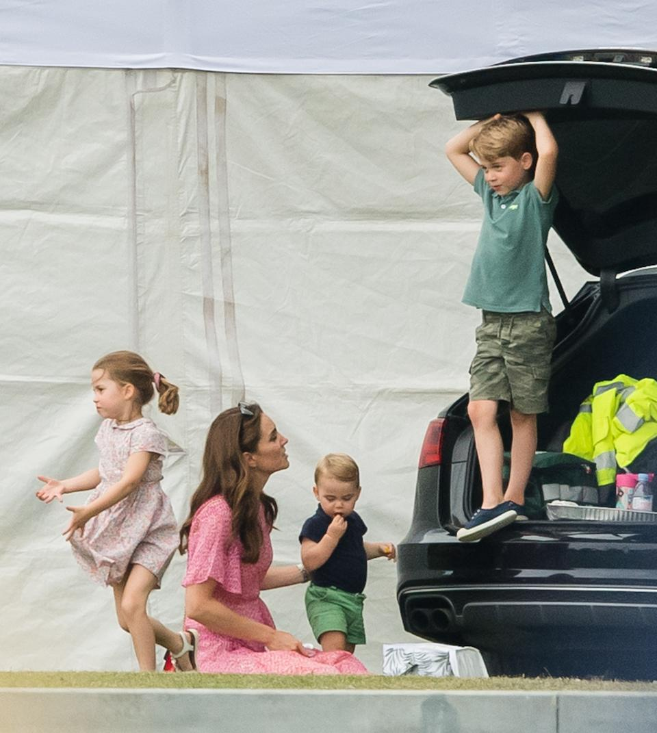 The young family watched their dad, Prince William, and uncle, Prince Harry, play in the King Power Royal Charity Polo Day at Billingbear Polo Club in Wokingham. <em>[Photo: Getty]</em>