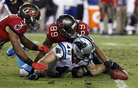 Oct 24, 2013; Tampa, FL, USA; Carolina Panthers defensive back Colin Jones (42) grabs a fumble from Tampa Bay Buccaneers wide receiver Eric Page (17) and wide receiver Russell Shepard (89) during the second half at Raymond James Stadium. Kim Klement-USA TODAY Sports
