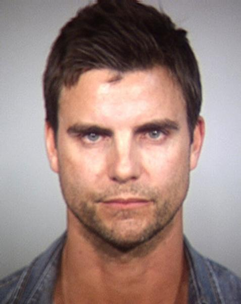 "In this Tempe Police Department booking photo released Wednesday, April 2, 2014, shows Colin Egglesfield in Tempe, Ariz. Authorities said the Egglesfield was arrested on allegations that he damaged property at an Arizona arts festival. Tempe police said the 41-year-old actor known for his roles on ""The Client List"" and ""All My Children"" was arrested around Saturday on charges of disorderly conduct and criminal damage. (AP Photo/Tempe Police Department)"