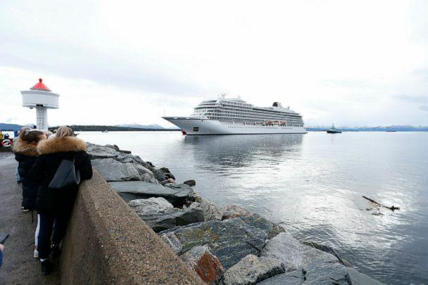 PHOTO: The cruise ship Viking Sky arrives at port off Molde, Norway, Sunday March 24, 2019, after having problems and issuing a Mayday call on Saturday in heavy seas off Norway's western coast. (Svein Ove Ekornesvag/NTB scanpix via AP)