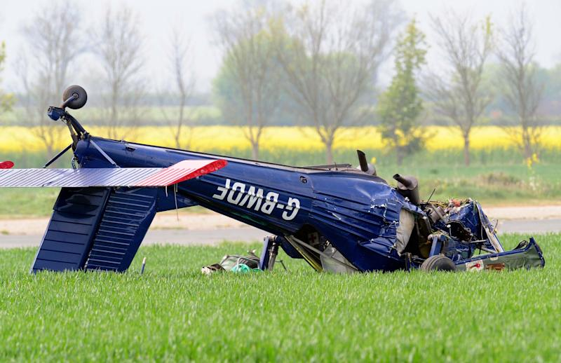 The light aircraft that crashed at Hinton-in-the-Hedges airfield, near Brackley, injuring Ukip candidate Nigel Farage and the plane's pilot. (Photo by Rui Vieira/PA Images via Getty Images)
