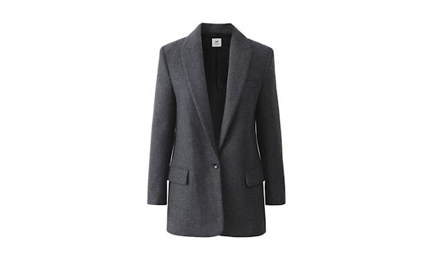 "<p><i>Wool-blend blazer, $199, <a href=""http://www.hm.com/us/product/71892?article=71892-A#campaign=CAMP_LADIES_STUDIO-AW2017-WOMEN&shopOrigin=CA&webShopOrigin=CA"" rel=""nofollow noopener"" target=""_blank"" data-ylk=""slk:hm.com."" class=""link rapid-noclick-resp"">hm.com.</a> (Photo courtesy of H&M) </i></p>"