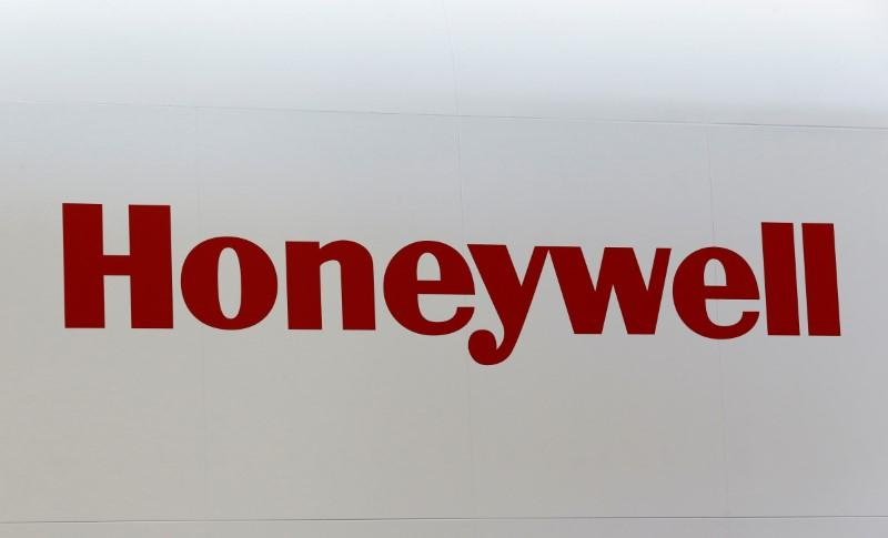 FILE PHOTO: A Honeywell logo is pictured on the company booth during the European Business Aviation Convention & Exhibition (EBACE) at Cointrin airport in Geneva
