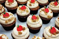 """These flavorful cupcakes are studded with grated apple and bits of cinnamon crumble, then topped with a luscious cinnamon buttercream. It's fall all the way. <a href=""""https://www.epicurious.com/recipes/food/views/apple-cinnamon-crumble-cupcakes?mbid=synd_yahoo_rss"""" rel=""""nofollow noopener"""" target=""""_blank"""" data-ylk=""""slk:See recipe."""" class=""""link rapid-noclick-resp"""">See recipe.</a>"""