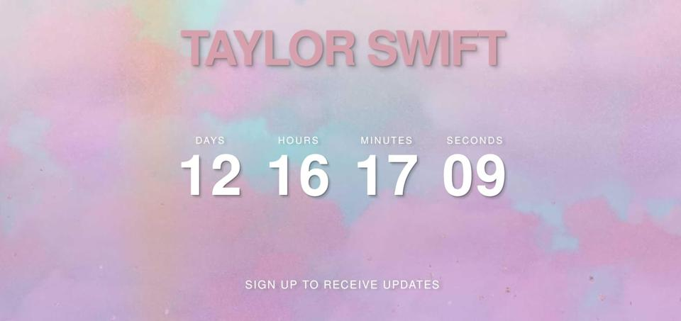 """<span>She also changed the look and feel of her website – the background is now pink clouds drifting across a pale blue sky – a design which is also now being used for <a href=""""https://twitter.com/taylorswift13"""" rel=""""nofollow noopener"""" target=""""_blank"""" data-ylk=""""slk:her Twitter"""" class=""""link rapid-noclick-resp"""">her Twitter</a> and <a href=""""https://twitter.com/taylorswift13"""" rel=""""nofollow noopener"""" target=""""_blank"""" data-ylk=""""slk:Instagram"""" class=""""link rapid-noclick-resp"""">Instagram</a> profile pics.</span>"""