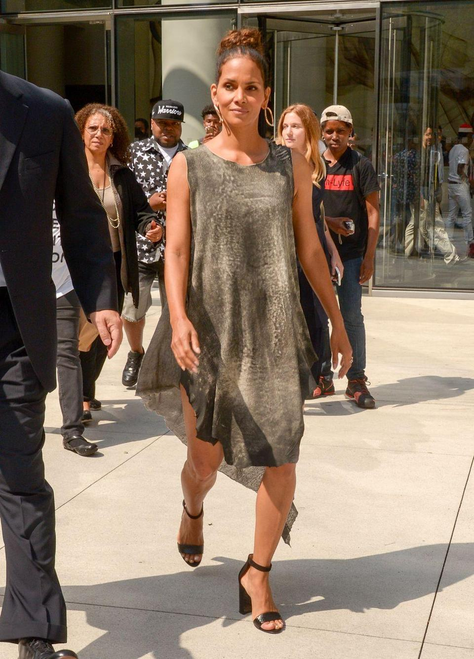 "<p>Some days, you just don't feel like going all in—and that's totally okay. Halle and Thomas said in a <a href=""https://www.womenshealthmag.com/fitness/a26839980/halle-berry-favorite-low-impact-workout-instagram/"" rel=""nofollow noopener"" target=""_blank"" data-ylk=""slk:#FitnessFriday"" class=""link rapid-noclick-resp"">#FitnessFriday</a> video that walking up stairs or hills is a great low-impact substitute for running.<br></p>"