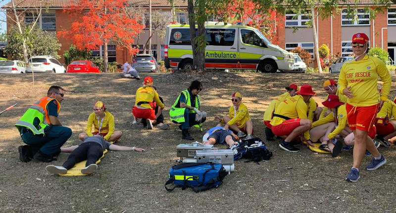 Surf Life Saving and QAS training outside together in November, 2019.