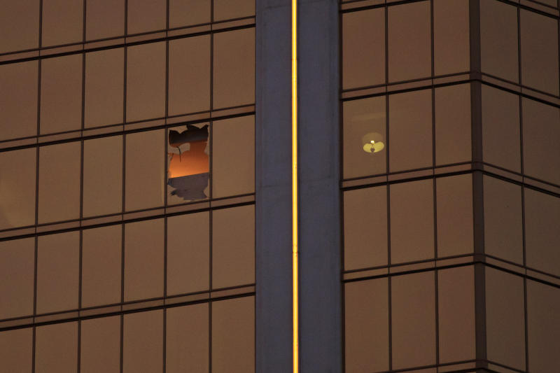 Stephen Paddock shot at a Las Vegas country music festival from ashattered window in his 32nd-floor suite at the MGM-owned Mandalay Bay Resort and Casino. (Drew Angerer via Getty Images)