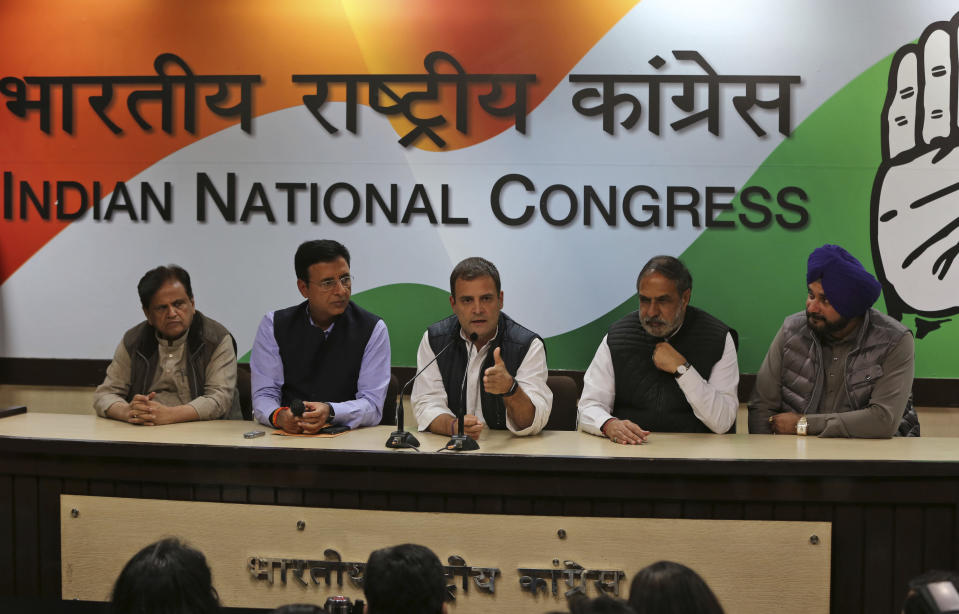 Congress party President Rahul Gandhi addresses a press conference as results are counted in five states that recently went to the polls, in New Delhi, India, Tuesday, Dec. 11, 2018. The Congress party won in the states of Chhatisgarh and Rajasthan, while it was in a close fight with the Bharatiya Janata Party in Madhya Pradesh state. (AP Photo)