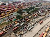 Chokepoint: Trucks at Apapa wait to get into the port of Lagos