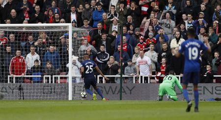 Middlesbrough v Manchester United - Premier League - The Riverside Stadium - 19/3/17 Manchester United's Antonio Valencia scores their third goal Action Images via Reuters / Lee Smith Livepic