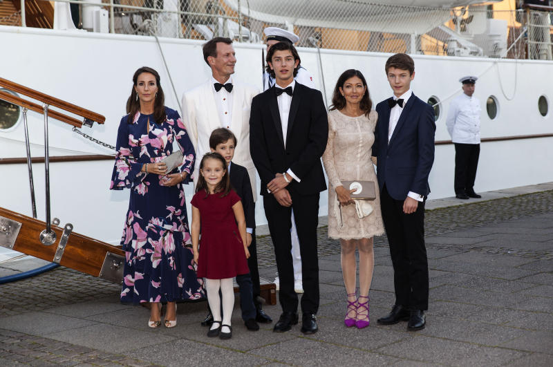 COPENHAGEN, DENMARK - AUGUST 28: Prince Joachim and Princess Marie together with their children and Jochim's former wife Alexandra Christina Manley at the dinner party to celebrate the 18th birthday of Prince Nokolai (R- 3rd) hosted by Queen Margrethe of Denmark on the royal ship Dannebrog at the quay next to Amalienborg on August 28, 2017 in Copenhagen, Denmark. Prince Nikolai is the son of Prince Joachim and his former wife Alexandra Christina Manley. Following this event Dannebrog leaves Copenhagen Tuesday for Bornholm in the Baltic Sea, where the Queen commence a three day visit. (Photo by Ole Jensen - Corbis/Corbis via Getty Images)