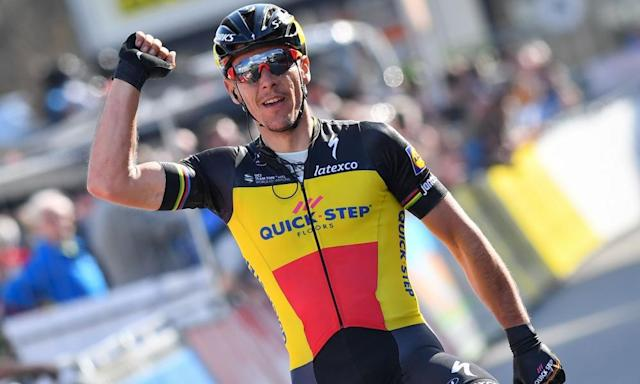 """<span class=""""element-image__caption"""">Belgian cyclist Philippe Gilbert of Quick-Step Floors was one of the cyclists fined for riding in a bike lane.</span> <span class=""""element-image__credit"""">Photograph: David Stockman/AFP/Getty Images</span>"""