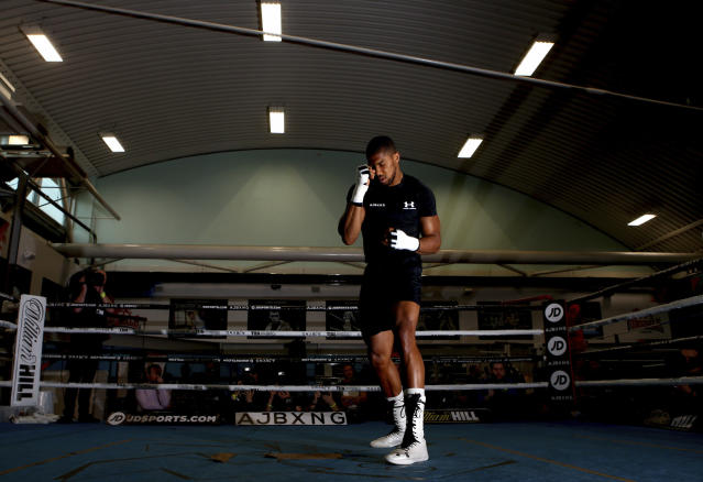 British boxer Anthony Joshua in action, during a media session at the English institute of Sport, in Sheffield, England, Wednesday May 1, 2019. Andy Ruiz Jr. will look to become Mexicos first heavyweight champion after replacing Jarrell Miller as the opponent for unbeaten WBA, IBF and WBO titleholder Anthony Joshua. (Dave Thompson/PA via AP)