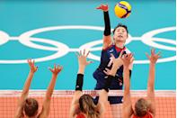 <p>Jeongah Park #13 of Team South Korea strikes against Team Turkey during the Women's Quarterfinals volleyball on day twelve of the Tokyo 2020 Olympic Games at Ariake Arena on August 04, 2021 in Tokyo, Japan. (Photo by Toru Hanai/Getty Images)</p>