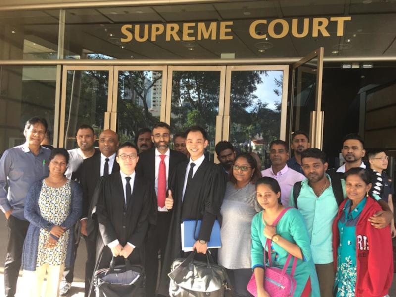 P. Pannir Selvam's lawyers and family in front of Singapore's Supreme Court May 23, 2019. — Picture courtesy of Latheefa Koya