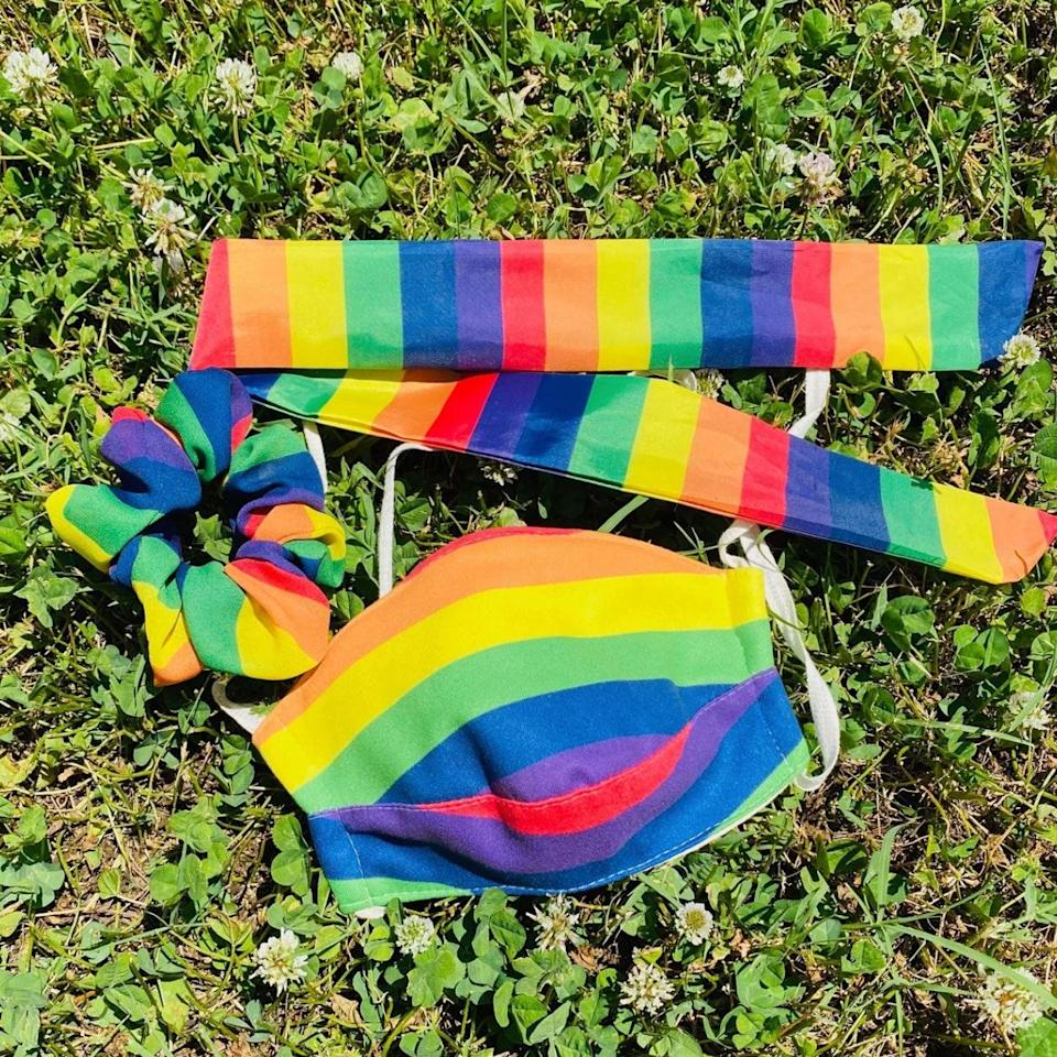 "<p>How adorable is Bella Bonita Designs' Pride Scrunchie, Twilly, & Mask Set? Each trio is handmade by women in recovery [who need a fresh start] CUT, and 35 percent of proceeds go to <a href=""https://www.glsen.org/"" rel=""nofollow noopener"" target=""_blank"" data-ylk=""slk:GLSEN"" class=""link rapid-noclick-resp"">GLSEN</a>, an organization that advocates for LGBTQ+ students impacted by bullying.</p> <p><strong>$58 for the set</strong> (<a href=""https://www.bellabonitadesigns.com/products/pride-set"" rel=""nofollow noopener"" target=""_blank"" data-ylk=""slk:Shop Now"" class=""link rapid-noclick-resp"">Shop Now</a>)</p>"