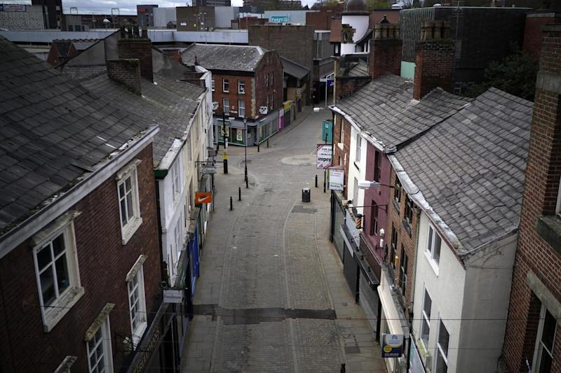 A near deserted Stockport town centre during the pandemic lockdown: Getty Images