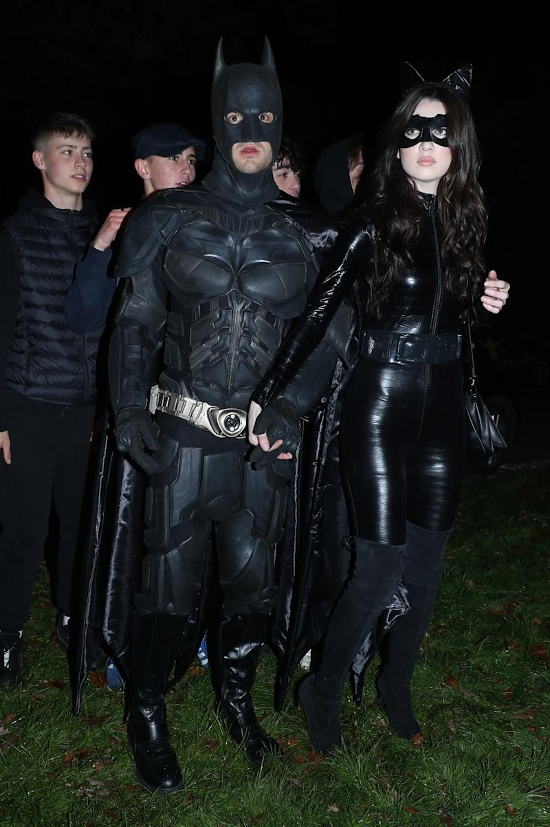 Liam Payne (left) arrives at a Halloween party hosted by Jonathan Ross at his house in north London.