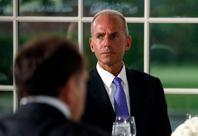 Boeing Co. Chairman, President and CEO Dennis Muilenburg, attends a dinner meeting with President Donald Trump and other business leaders, Tuesday, Aug. 7, 2018, at Trump National Golf Club in Bedminster, N.J. (AP Photo/Carolyn Kaster)