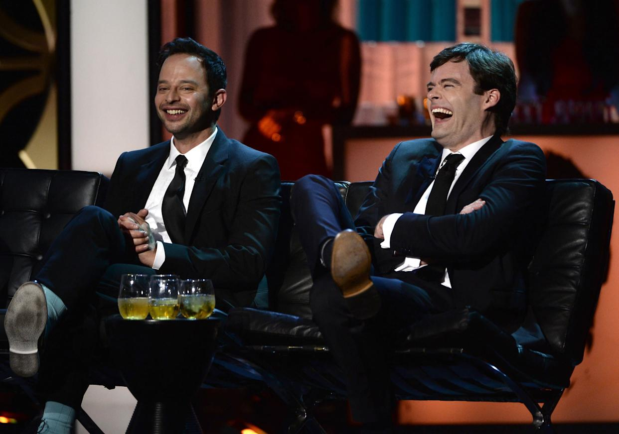 CULVER CITY, CA - AUGUST 25: Comedian Nick Kroll and actor Bill Hader onstage during The Comedy Central Roast of James Franco at Culver Studios on August 25, 2013 in Culver City, California. The Comedy Central Roast Of James Franco will air on September 2 at 10:00 p.m. ET/PT. (Photo by Kevin Winter/Getty Images for Comedy Central)