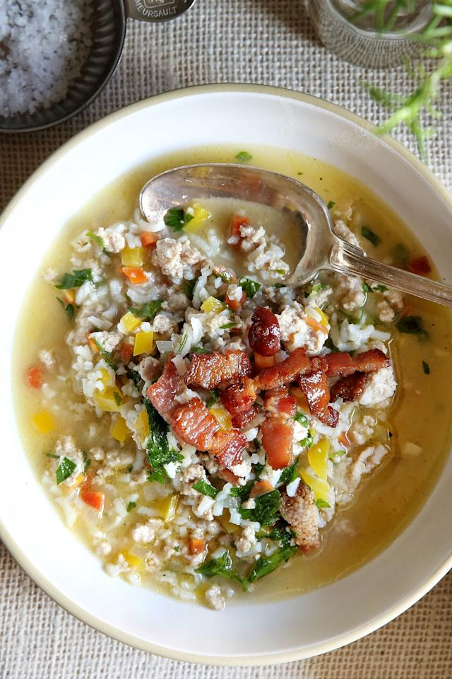 """<p>Oh, how we've missed soup season!</p><p>Get the recipe: <a rel=""""nofollow"""" href=""""http://www.delish.com/cooking/recipe-ideas/recipes/a49666/turkey-and-rice-vegetable-soup-recipe/"""">Turkey and Rice Vegetable Soup</a></p>"""