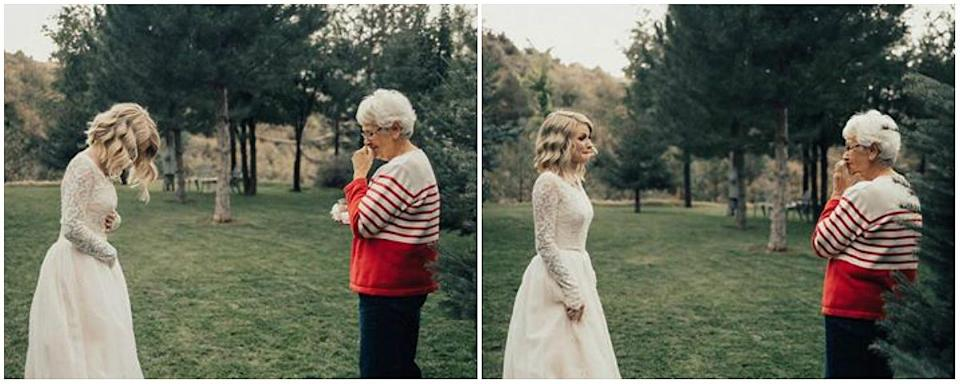 Jordyn's grandma had no idea the dress was in her granddaughter's possession. So when she saw Jordyn walk down the aisle in her gown, her reaction was priceless. (Photo: Supplied/Kortney Peterson)