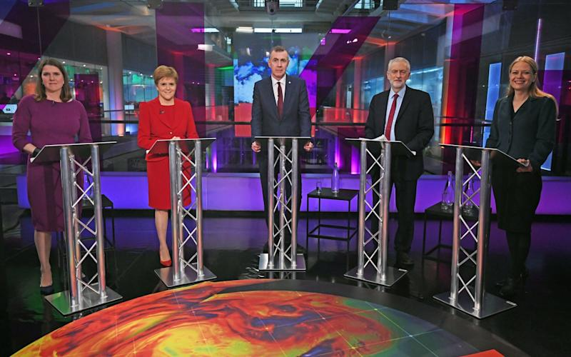 Liberal Democrat leader Jo Swinson, SNP leader Nicola Sturgeon, Plaid Cymru leader Adam Price, Labour Party leader Jeremy Corbyn and Green Party Co-Leader Sian Berry, before the start of the Channel 4 News' General Election climate debate. - Getty Images Europe