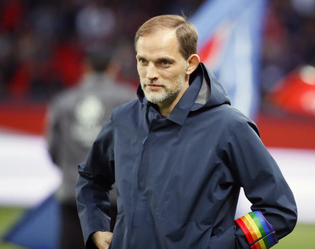 FILE - In this file photo dated Saturday, May 18, 2019, PSG's head coach Thomas Tuchel waits for the start of the League One soccer match against Dijon at the Parc des Princes stadium in Paris, France. PSG announced Friday June 14, 2019, the return of Leonardo appointed as as Paris Saint-Germains new sporting director, which could be welcome news to coach Thomas Tuchel after a difficult first season in charge. (AP Photo/Francois Mori, FILE)