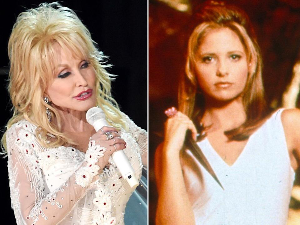 Dolly Parton in concert, and Sarah Michelle Gellar as Buffy Summers (Kevin Winter/Getty Images/Fox Television)