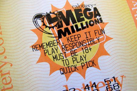 A lottery ticket for the current record breaking $667 million U.S. Mega Millions jackpot is shown in this illustration