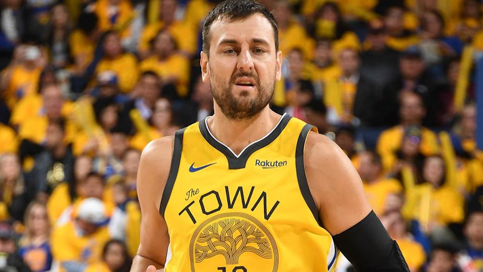 Andrew Bogut in action in Game 2. (Photo by Andrew D. Bernstein/NBAE via Getty Images)